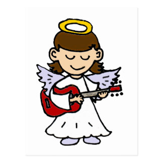 Adorable Little Girl Angel with Guitar Postcard