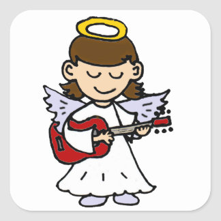 Adorable Little Girl Angel with Guitar Square Sticker