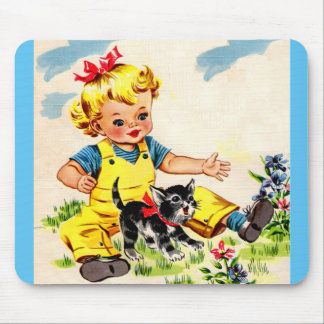 adorable little girl with adorable little kitten mouse pad