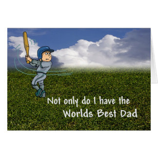Adorable Little League Dad & Son Batting Practice Card