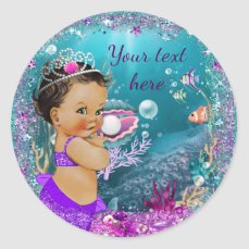 Adorable Little Mermaid Baby Shower Stickers