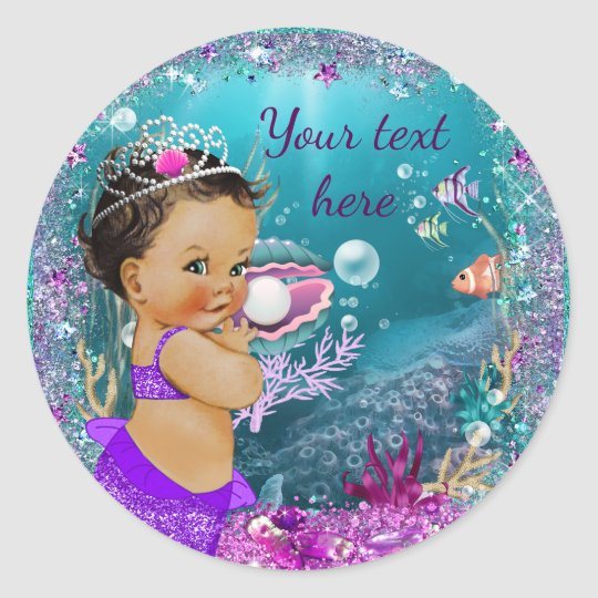 Adorable Little Mermaid Baby Shower Stickers Zazzlecom