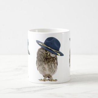 Adorable little mountie owl - magnifying glass coffee mug