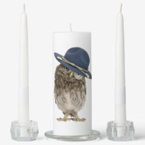 Adorable little mountie owl - magnifying glass unity candle set