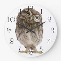 Adorable little owl wearing magnifying glass large clock