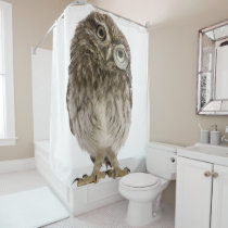 Adorable little owl wearing magnifying glass shower curtain