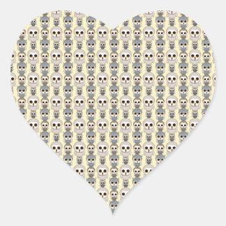 Adorable Little Owls Pattern on Light Yellow Heart Sticker