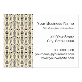 Adorable Little Owls Pattern on Light Yellow Large Business Card