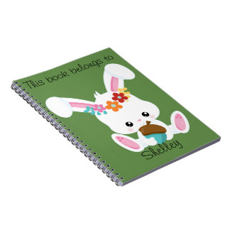 Adorable Little White Bunny Personalized Notebook
