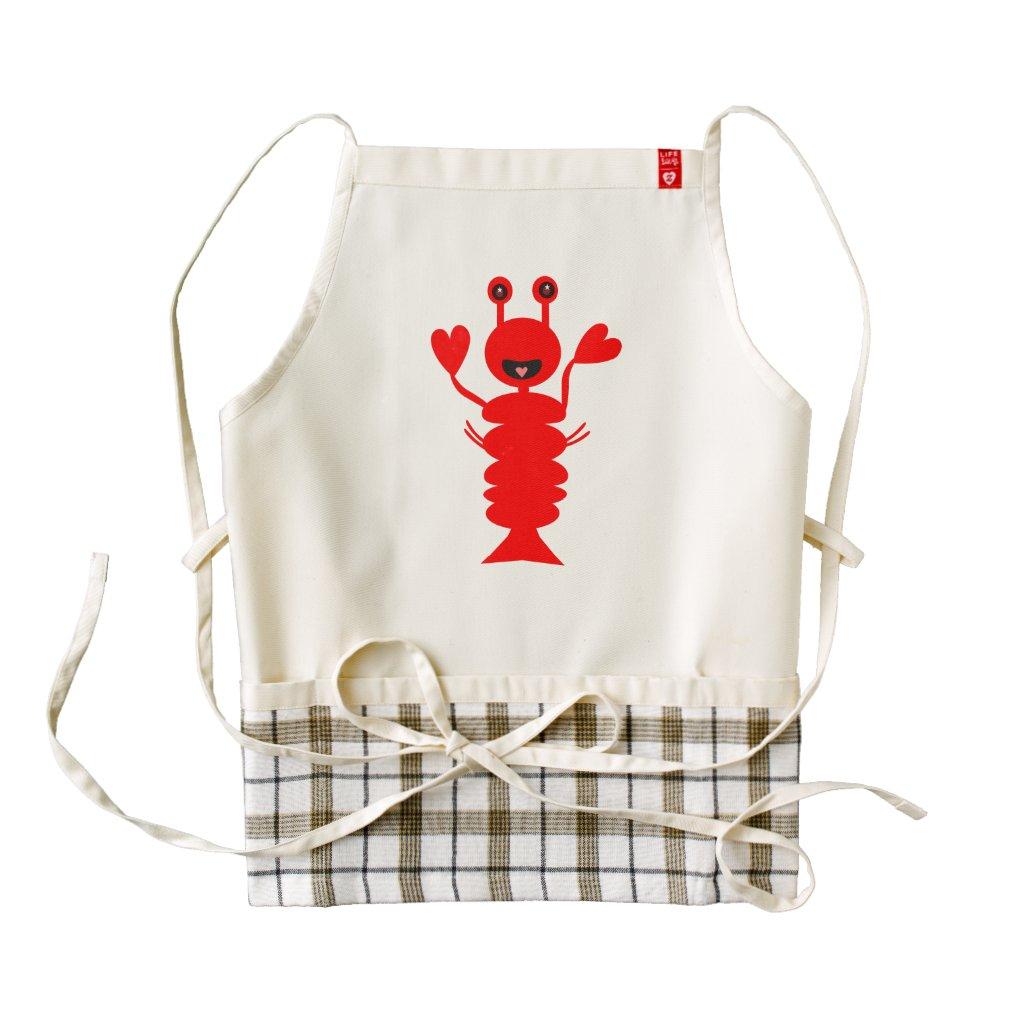 Adorable Lobster 4.5 Zazzle HEART Apron