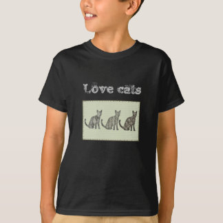 "Adorable ""love cats"" abstract cat patchwork T-Shirt"
