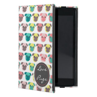 "Adorable "" Love Pugs"" colorful pugs illustration Cover For iPad Mini"