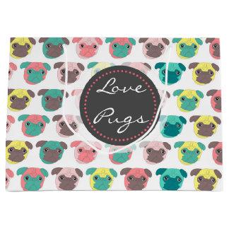 "Adorable "" Love Pugs"" colorful pugs illustration Large Gift Bag"