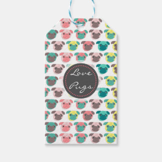 """Adorable """" Love Pugs"""" colorful pugs illustration Pack Of Gift Tags"""