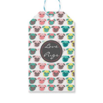 """Adorable """" Love Pugs"""" colorful pugs illustration Gift Tags"""