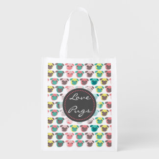 "Adorable "" Love Pugs"" colorful pugs illustration Grocery Bag"