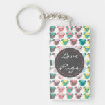 "Adorable "" Love Pugs"" colorful pugs illustration Double-Sided Rectangular Acrylic Keychain"