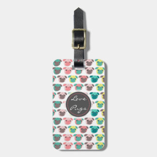 """Adorable """" Love Pugs"""" colorful pugs illustration Tag For Bags"""