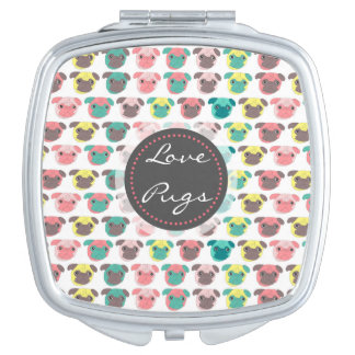 "Adorable "" Love Pugs"" colorful pugs illustration Compact Mirrors"