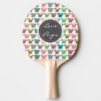 """Adorable """" Love Pugs"""" colorful pugs illustration Ping Pong Paddle"""