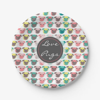 """Adorable """" Love Pugs"""" colorful pugs illustration 7 Inch Paper Plate"""