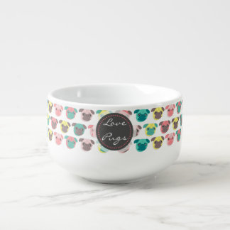 "Adorable "" Love Pugs"" colorful pugs illustration Soup Mug"