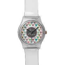 "Adorable "" Love Pugs"" colorful pugs illustration Wrist Watch"