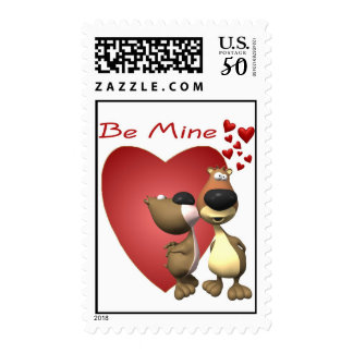 Adorable Loveable Bear Caricatures Postage