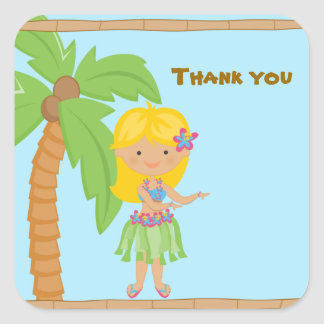 Adorable Luau Girl Personalized Sticker