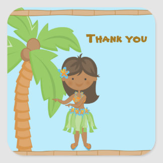 Adorable Luau Girl Thank You Sticker