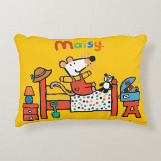 Adorable Maisy in Red Overalls Accent Pillow