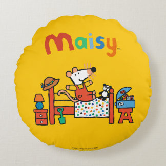 Adorable Maisy in Red Overalls Round Pillow