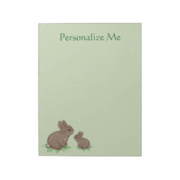 Adorable Mama and Baby Bunny in Clover Notepad