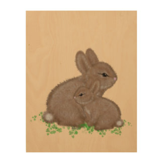 Adorable Mama and Baby Bunny in Clover Painting Wood Wall Art
