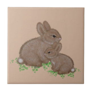 Adorable Mama and Baby Bunny in Clover Tile