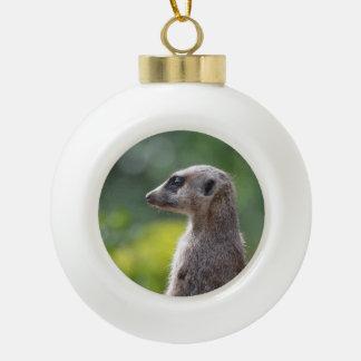 Adorable Meerkat Ceramic Ball Christmas Ornament