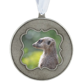 Adorable Meerkat Scalloped Pewter Christmas Ornament