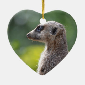Adorable Meerkat Double-Sided Heart Ceramic Christmas Ornament