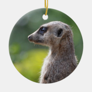 Adorable Meerkat Double-Sided Ceramic Round Christmas Ornament