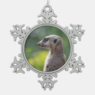 Adorable Meerkat Snowflake Pewter Christmas Ornament