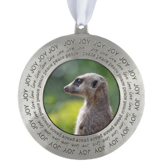 Adorable Meerkat Round Pewter Christmas Ornament