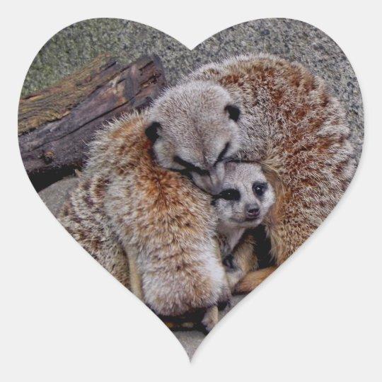 Adorable Meerkats Bundle of Fur Nature Photo Heart Sticker