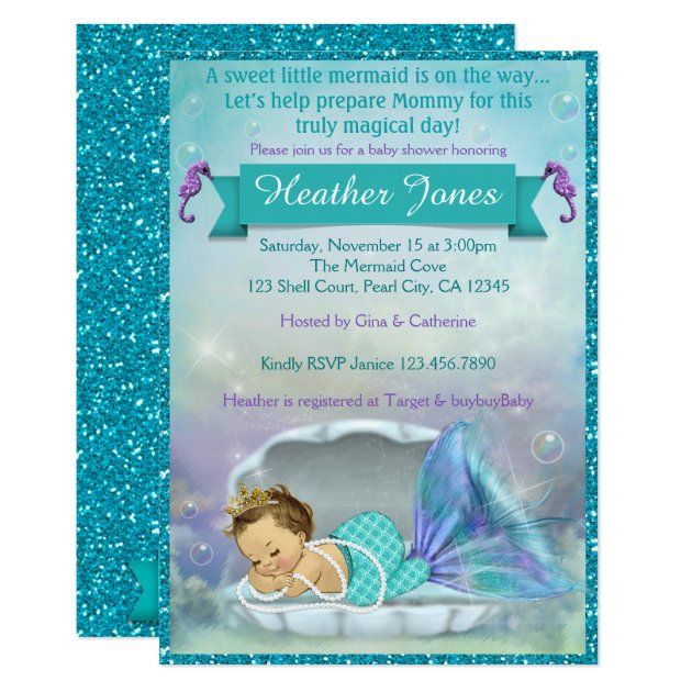 adorable mermaid baby shower invitations   zazzle, Baby shower