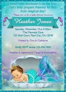 Mermaid baby shower invitations announcements zazzle adorable mermaid baby shower invitations 130 filmwisefo