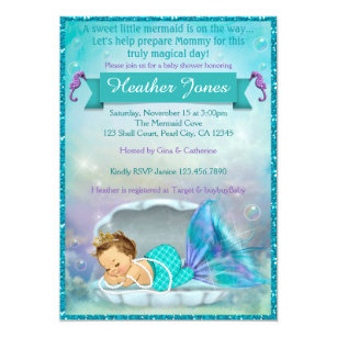 Adorable Mermaid Baby Shower Invitations #130