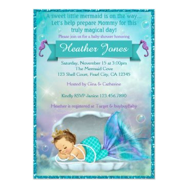 Toddler & Baby themed Adorable Mermaid Baby Shower Invitations #130