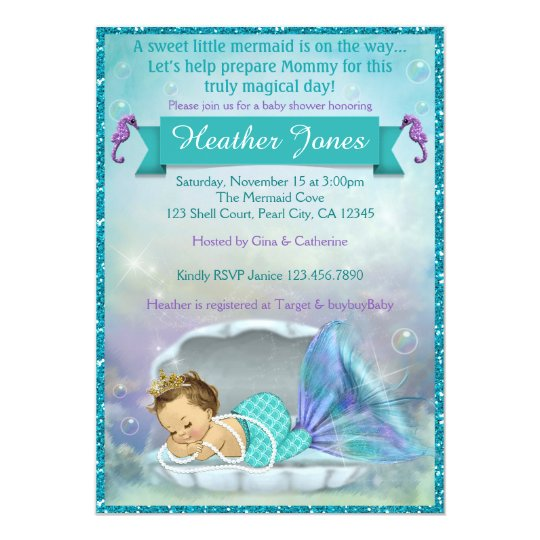 Mermaid Baby Shower Invitations & Announcements | Zazzle