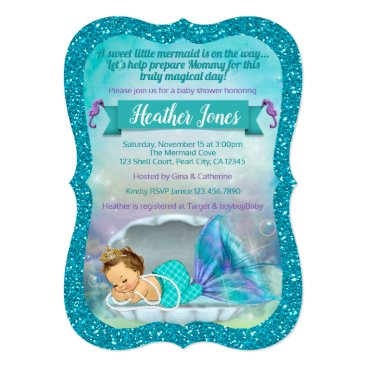 Toddler & Baby themed Adorable Mermaid Baby Shower Invitations 130 Light