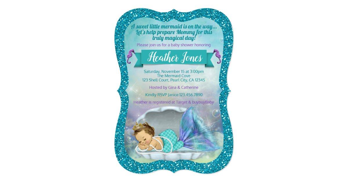 Adorable Mermaid Baby Shower Invitations 130 Light | Zazzle.com