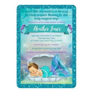 Adorable Mermaid Baby Shower Invitations 130 Light